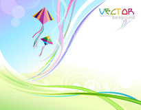 Abstract Colorful Background and Flying Kites Stock Photos