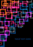 Abstract colorful background. Illustration of colorful squares on black background Stock Illustration