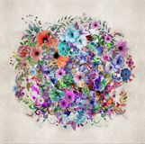 Abstract magic colorfull splashes background. Abstract colorful background with ink spots  and  decorative flowers Royalty Free Stock Image