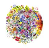 Abstract magic colorfull splashes background. Abstract colorful background with ink spots  and  decorative flowers Stock Images