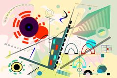 Abstract   colorful  background ,inspired by the  painter kandinsky. Abstract composition , fancy  geometric colorful shapes on beige background Stock Image