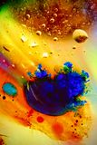 Abstract colorful Background Oil in Water surface Foam of Soap with Bubbles macro shot close-up royalty free stock photos