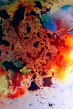 Abstract colorful Background Oil in Water surface Foam of Soap with Bubbles macro shot close-up stock image