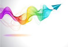 Abstract colorful background with paper air plane. And wave for design Stock Photos