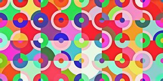 Abstract colorful background of radial graphics geometric background. Panorama ratio scale 8:4 stock photography