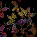Abstract colorful background, silhouettes coloured  flowers Stock Photography