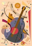 Abstract colorful background with stylized guitar -18-74. Abstract colorful composition , fancy geometric shapes brown ,beige, red, stylized guitar royalty free illustration