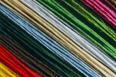 Cropped Shot Of Colorful Cotton Threads. stock photography