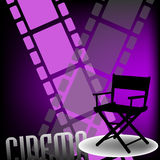 Cinema design. Abstract colorful background with two filmstrips, a movie director chair and the word cinema written bellow with capital letters Stock Images