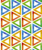 Abstract colorful background of watercolor triangles with empty middle on white background. Red, green, blue, yellow. As vector illustration