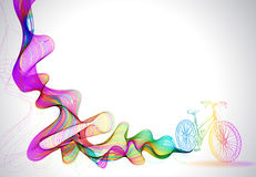 Abstract colorful background with wave and bicycle Stock Illustration