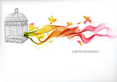 Abstract colorful background with wave and bird cage Royalty Free Stock Images