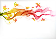 Abstract colorful background with wave and birds Stock Photos