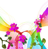 Abstract colorful background with wave and exotic flowers Royalty Free Stock Photo