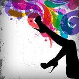 Abstract colorful background with woman legs silho Royalty Free Stock Images
