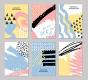 Abstract colorful backgrounds set. Hand drawn templates for card, flyer and invitation design. Vector illustration Stock Image