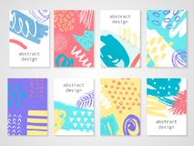 Abstract colorful backgrounds set. Hand drawn templates for card, flyer and invitation design. Vector illustration Stock Photography