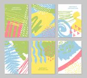 Abstract colorful backgrounds set. Hand drawn templates for card, flyer and invitation design. Vector illustration Stock Photos