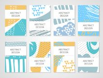 Abstract colorful backgrounds set. Hand drawn templates for card, flyer and invitation design. Vector illustration Royalty Free Stock Images