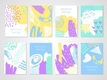Abstract colorful backgrounds set. Hand drawn templates for card, flyer and invitation design. Vector illustration Royalty Free Stock Photo