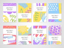 Abstract colorful backgrounds set. Hand drawn templates for card, flyer and invitation design. Vector illustration Stock Images