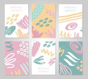 Abstract colorful backgrounds set. Hand drawn templates for card, flyer and invitation design. Vector illustration Royalty Free Stock Photos
