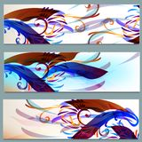 Abstract colorful backgrounds set. Vector illustration with colorful floral patterns Stock Photo