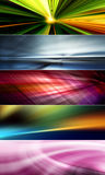 5 abstract colorful backgrounds suitable for web banners and web headers. 5 abstract backgrounds in red, orange, yellow, green, blue, purple and pink colors Stock Photo