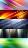 5 abstract colorful backgrounds suitable for website headers and banners. 5 abstract backgrounds in red, orange, yellow, green, blue, purple and pink colors Royalty Free Stock Images