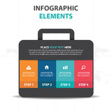 Abstract colorful bag suitcase business Infographics elements, presentation template flat design vector illustration for web Royalty Free Stock Images