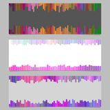 Abstract colorful banner background design set - horizontal vector graphic from rounded vertical stripes Stock Image