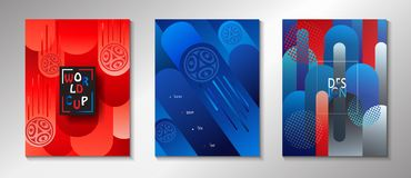 Football 2018 Russia World Cup SOCCER set. Football 2018 Russia World Cup SOCCER Abstract football tournament brochure covers background set, dynamic texture Stock Photos