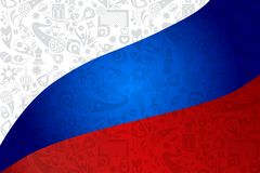 Football 2018 Russia World Cup SOCCER flag. Abstract colorful banner red blue and white color dynamic shapes illustration, brochure cover template, russian folk Stock Photography