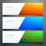 Abstract colorful banners set with triangle pattern Royalty Free Stock Images