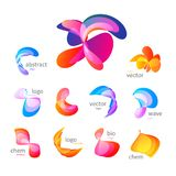 Abstract colorful bending shapes set.  vector colored paint logos collection. Unusual bright color effect design Stock Photo