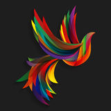 Abstract colorful bird. Flying abstract colorful bird on a dark background Royalty Free Illustration