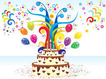 Abstract colorful birthday background with cake Stock Photo