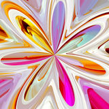 Abstract colorful bloom shape in pink yellow and blue Stock Photography