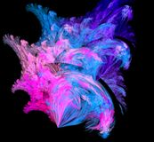 Abstract colorful blue and violet fractal on black background. Fantasy fractal texture. Digital art. 3D rendering. Computer genene. Rated image Stock Illustration