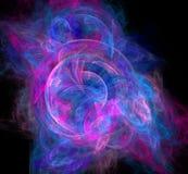Abstract colorful blue and violet fractal on black background. Fantasy fractal texture. Digital art. 3D rendering. Computer genene. Rated image Vector Illustration