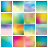 Abstract Colorful Blurred Backgrounds. Set of 16 Abstract Colorful Blurred Backgrounds. Vector Illustration Stock Photo