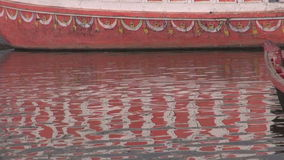 Abstract colorful boat reflection on Ganges water background Royalty Free Stock Photos