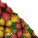 Abstract colorful border with flowers and leaves. Illustration Stock Image