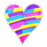 Abstract colorful bright heart. Symbol on white background, hand drawn Stock Image