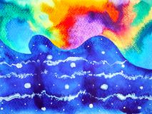 Abstract colorful bubble art universe watercolor painting illustration. Design background hand drawn Stock Photography