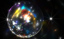 Abstract colorful bubble with sparkles. Illustration Stock Image