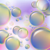Abstract colorful bubbles rising on soft background. Drops of oil or cellular structure scientific background. Stock Photos