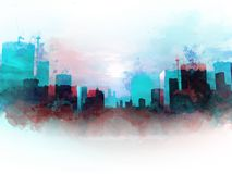 Abstract colorful building in the city on watercolor illustration. vector illustration