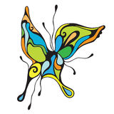Abstract colorful butterfly. With black lines, tattoo vector illustration