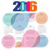 Abstract colorful calendar 2016. Vector Stock Image